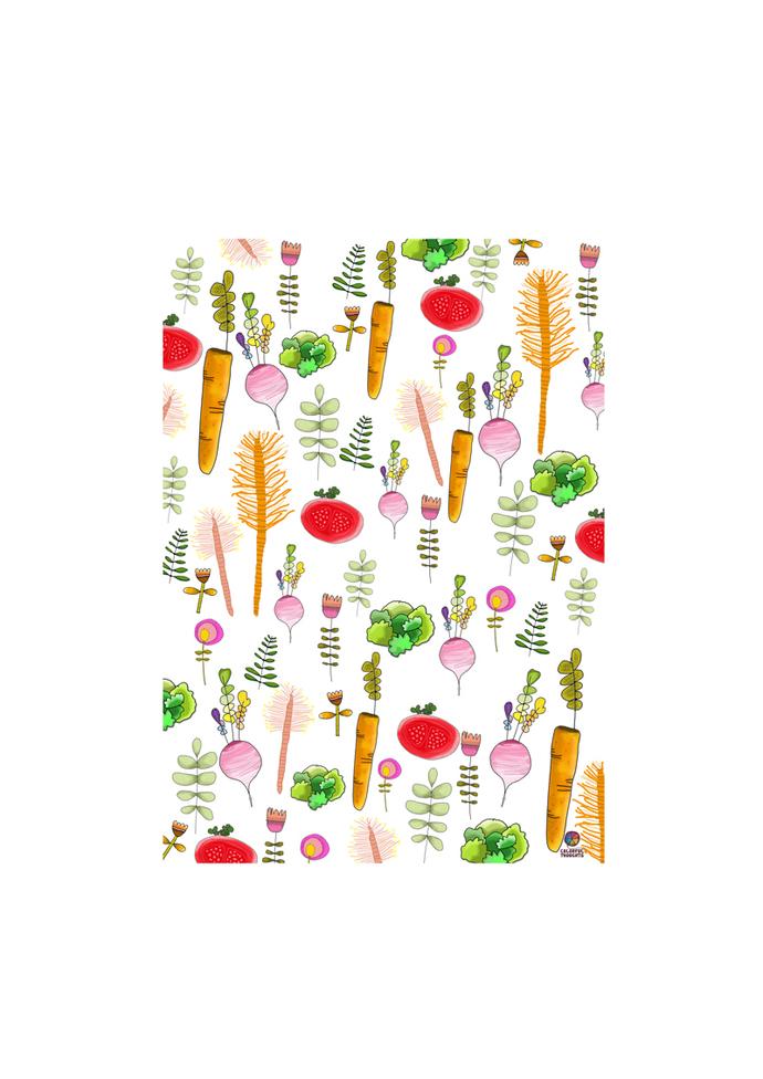 Printed illustration on wood with lamination -  Foodies- Vegetable