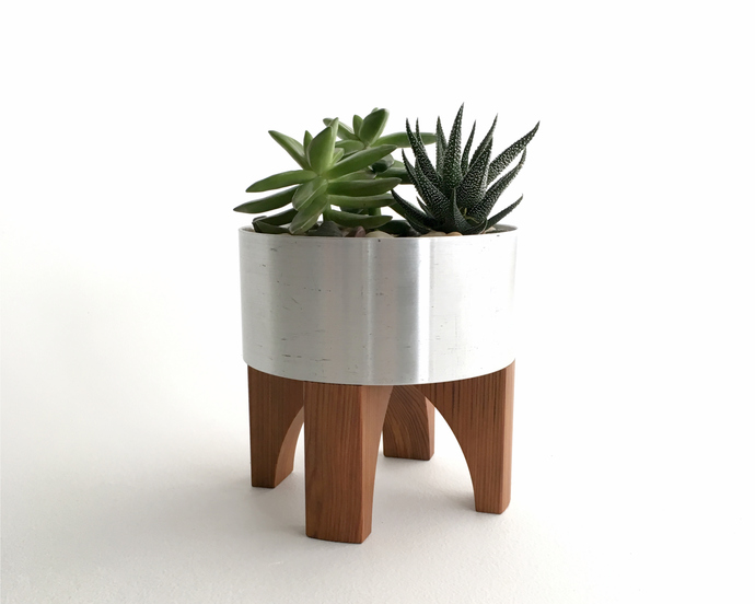 """""""Sputnik"""" Planter, Mid Century Style, Recycled Metal and Reclaimed Wood"""