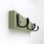 Distressed Classic Green Finish Rustic Wall Hook Rack with Black Hooks