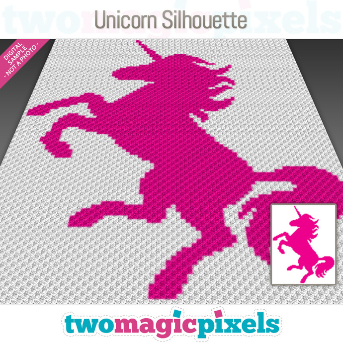 Unicorn Silhouette  crochet graph (C2C, Mini C2C, SC, HDC, DC, TSS), cross