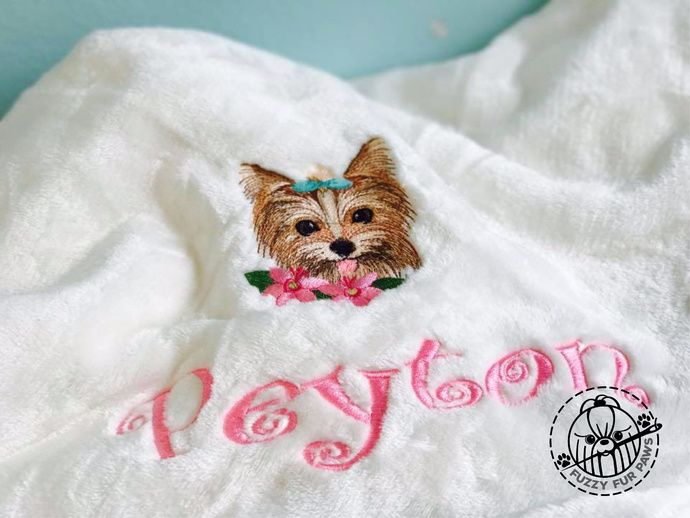 Yorkie-Custom Embroidered Dog Blanket