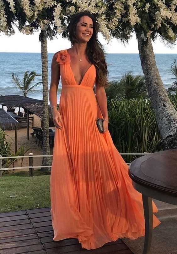 Charming Deep V neck Evening Dress, Sexy Sleeveless A Line Long Prom Dress