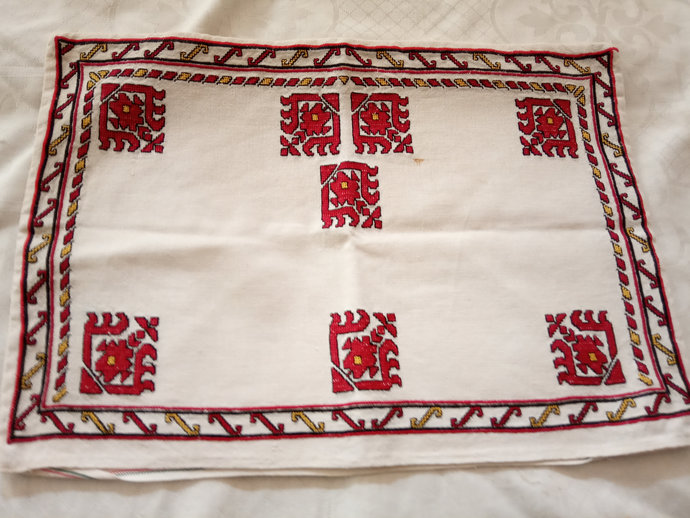 Pillow Case Hand Embroidered, Vintage Pillow Case, Ethnic Pattern Embroidery