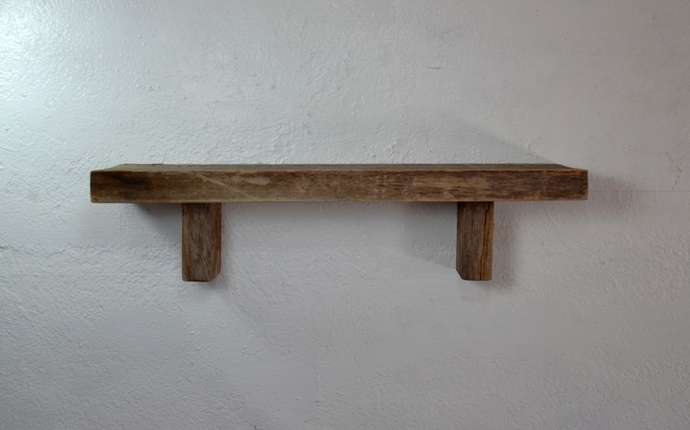 "Reclaimed wood wall shelf 22"" wide 5"" deep, handcrafted"