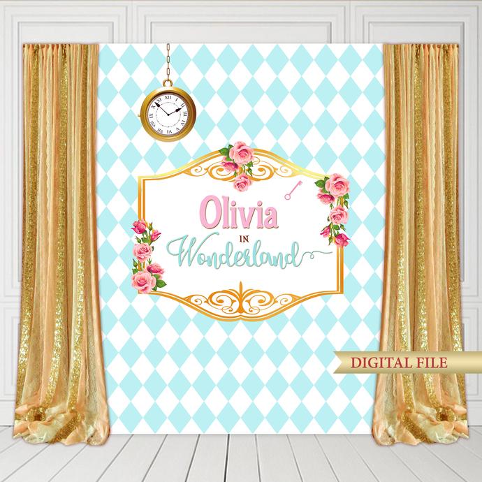 Alice in Wonderland Backdrop, Printable Wonderland Backdrop, Wonderland Banner,