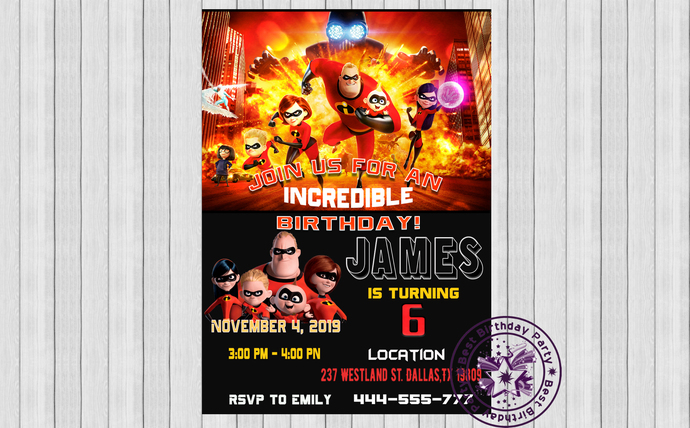 Incredibles Birthday Invitations The 2 Custom Party