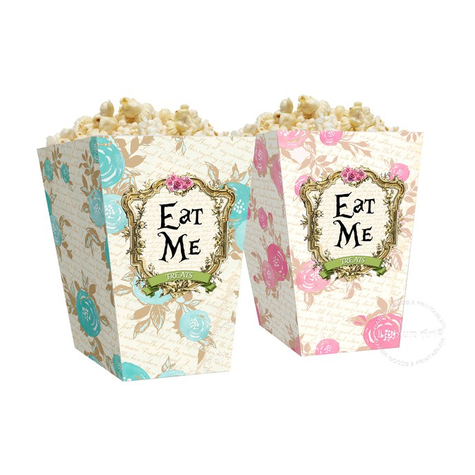 image about Popcorn Box Printable identified as ALICE Inside WONDERLAND Popcorn Box, Prompt Down load, Consume Me Printable Box