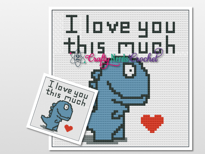 Valentines Dinosaur T Rex Pillows with SC Single Crochet Written