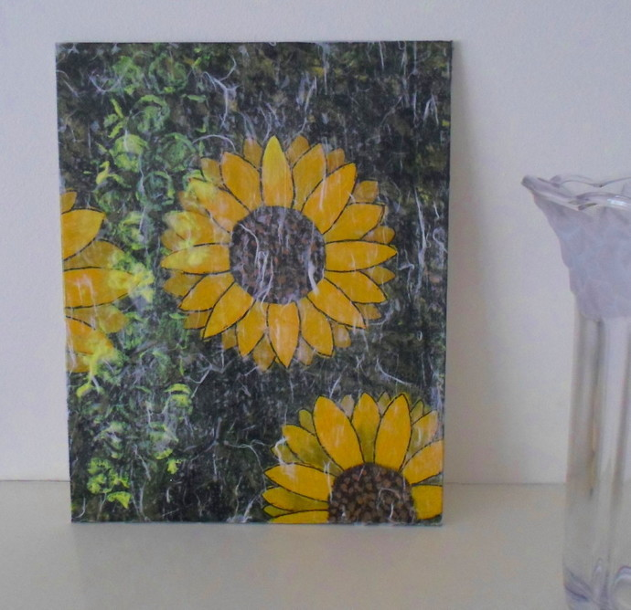 Yellow Sunflowers Mixed Media Original Artwork Ready to Ship