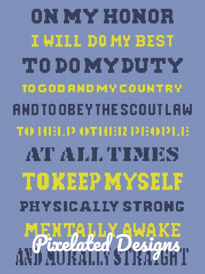 On My Honor - Boy Scout Oath Pattern - SC - 180x240 Throw - Graph w/Written