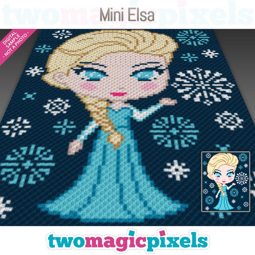 Mini C2c Pattern: Mini Elsa Crochet Graph (C2C, Mini C2C, SC,