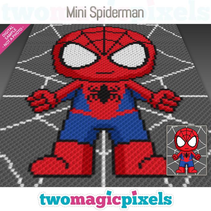 Mini Spiderman crochet graph (C2C, Mini C2C, SC, HDC, DC, TSS), cross stitch;