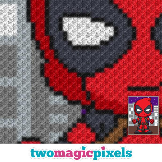 Mini Deadpool crochet graph (C2C, Mini C2C, SC, HDC, DC, TSS), cross stitch;