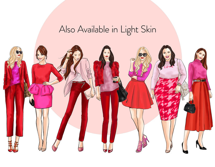 Watercolor fashion illustration clipart - Girls in Red and Pink - Dark Skin