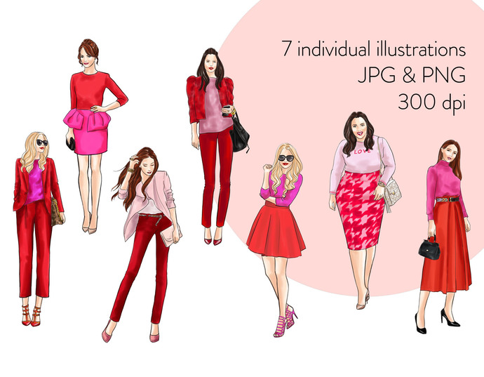 Watercolor fashion illustration clipart - Girls in Red and Pink - Light Skin