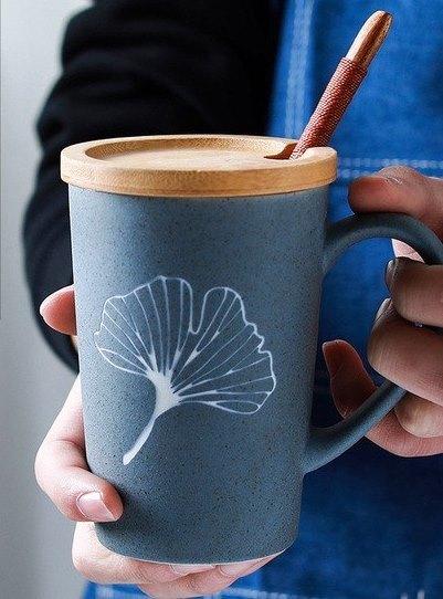 Simple Engraved Ceramic Coffee Cup