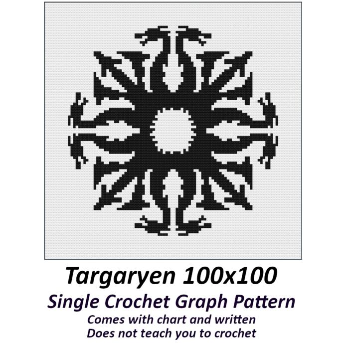 Targaryen Crochet Graph Pattern 100x100