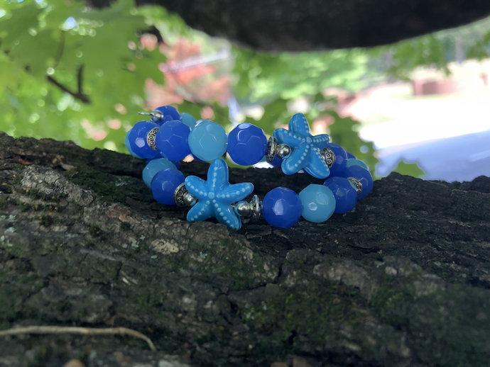 Starfish Bracelet| Blue Starfish| blue wrap bracelet