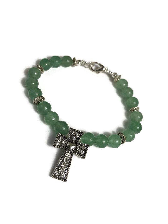 Green cross bracelet| secret sister gift| baptism gift