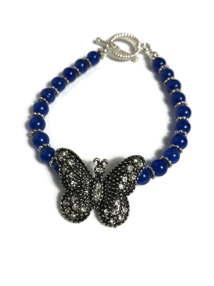 Blue butterfly bracelet| blue beaded bracelet