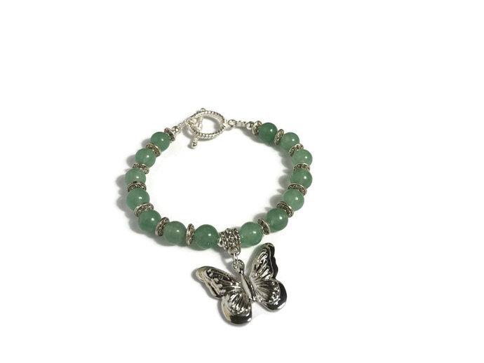 Butterfly Bracelet| green beaded bracelet women