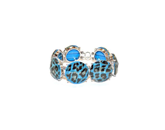 Leopard print bead bracelet |blue leopard print