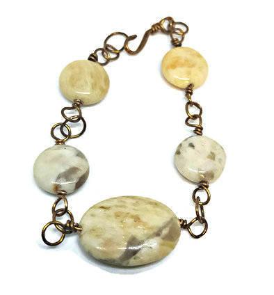 Wire wrap bracelet- brown bracelet- gemstone bracelet