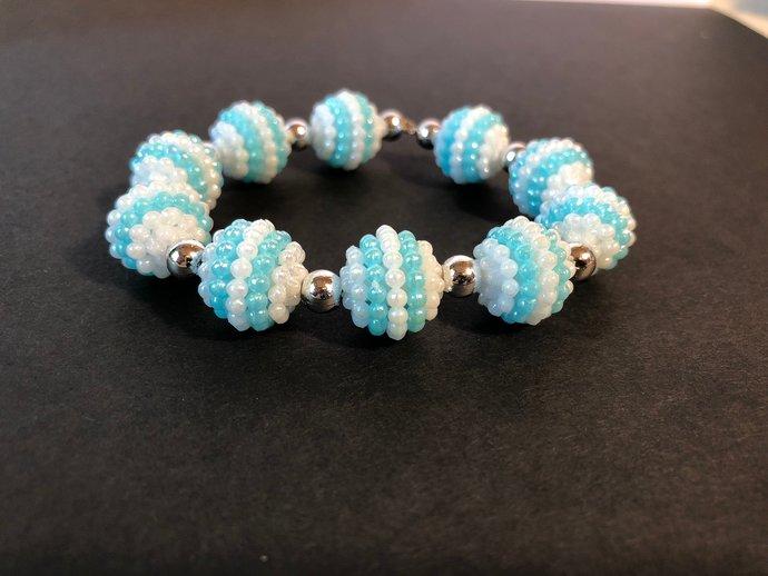 Disco blue bracelet| Disco beads