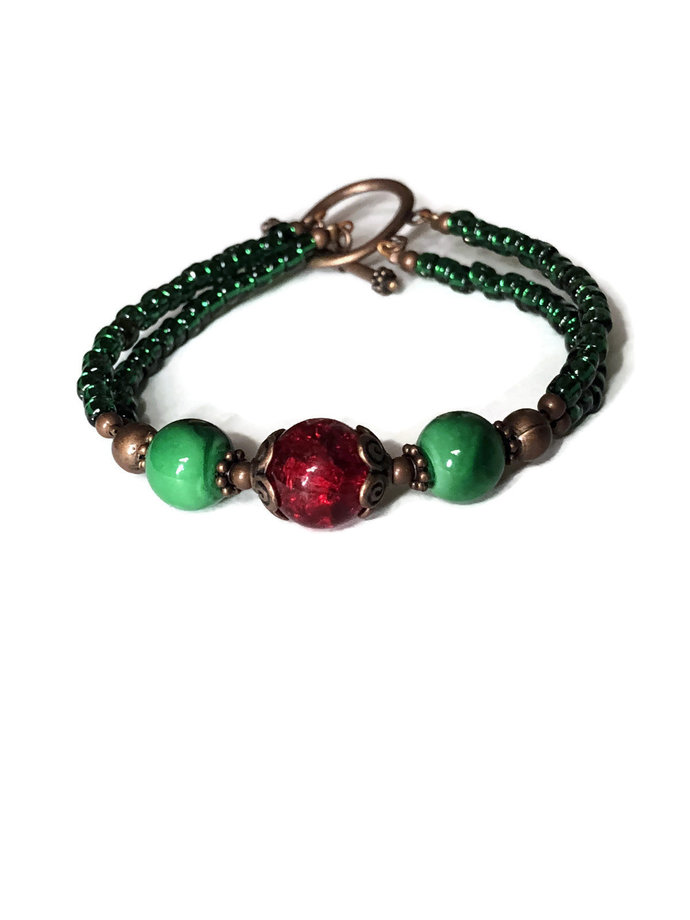 Green and Red Christmas inspired bracelet