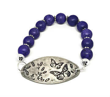 Butterfly charm bracelet| butterfly and flowers