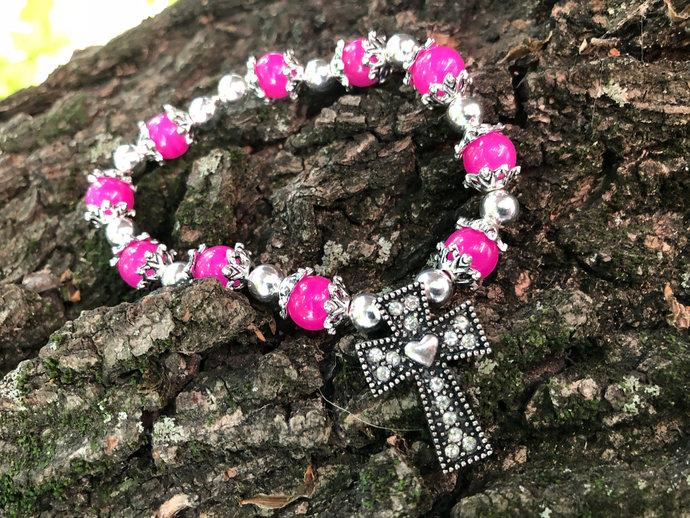 Pink Cross Bracelet| Cross Charm bracelet
