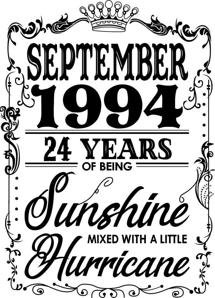 September 1994  years of being Sunshine mixed with a little hurricane,  Princess