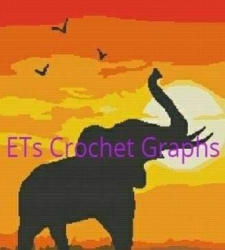 Sunset Elephant Pattern - SC - 220x260 - Graph w/Written