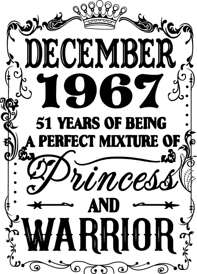 December 1967 years of being a perfect mixture of Princess and Warrior, Birthday