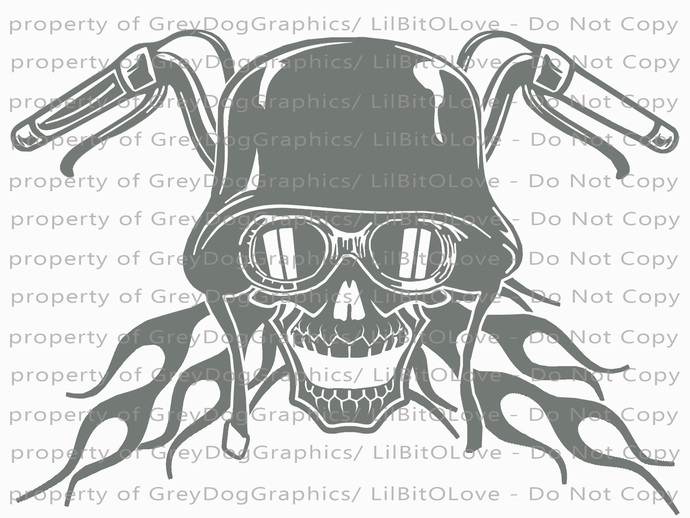 Motorcycle Biker Skull Vinyl Decal Bike Sticker Helmet Goggles Flames Handlebars