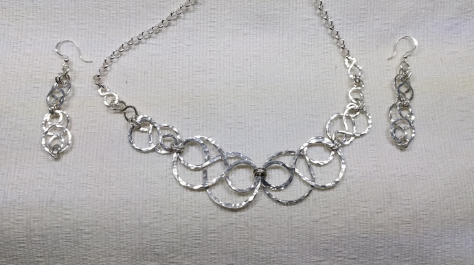 Sterling silver double infinity necklace and earring set 761