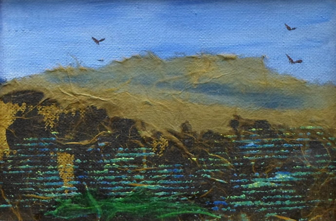 Original Small Unframed Artwork in Blue and Brown