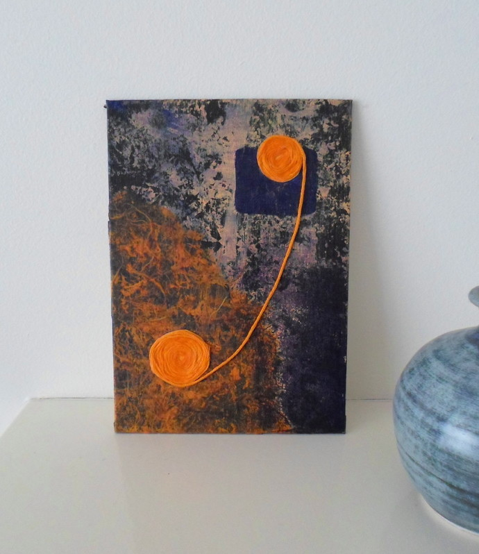 An Original Small Orange and Blue Abstract Artwork Ready to Ship