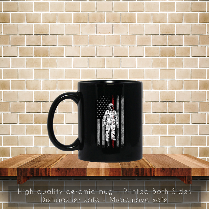 Firefighter American Flag Thin Red Line Coffee Mug, Tea Mug, Coffee Mug,