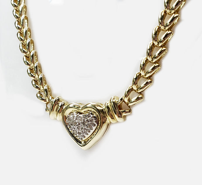 Diamond Heart Necklace, 25pts.Pave Set, on Heavy Gold Link Chain in 14kt. Gold