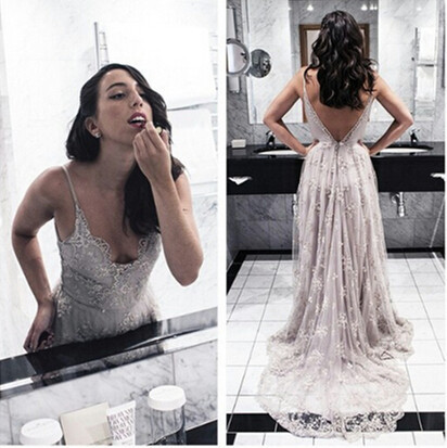 Lace Prom Dress Deep V Neckline,Homecoming Dress Long, Back to Schoold Party