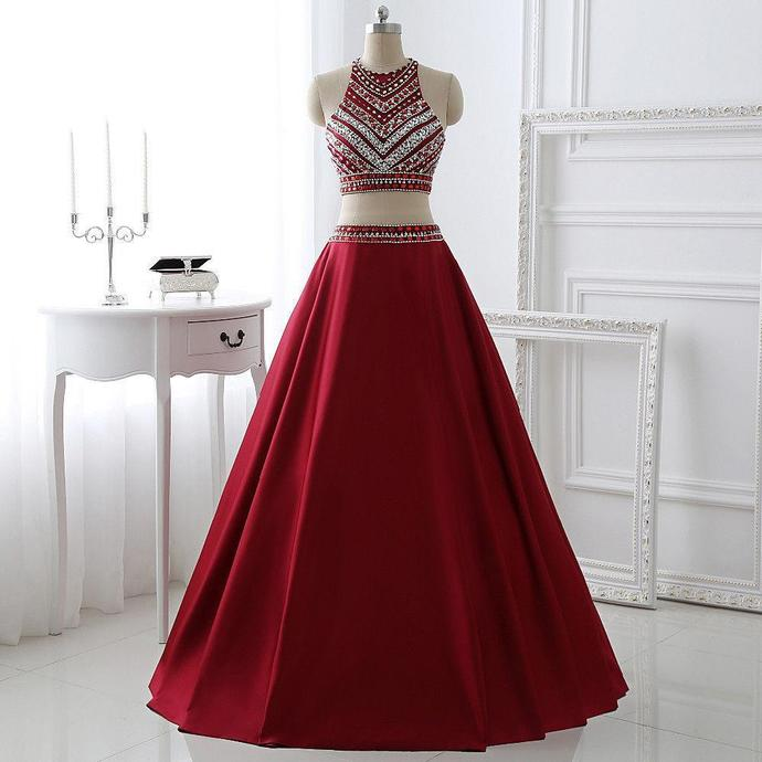Burgundy Two Pieces Prom Dress,Homecoming Dress Long, Back to Schoold Party Gown