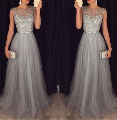 Silver Grey Prom Dress,Homecoming Dress Long, Back to Schoold Party Gown