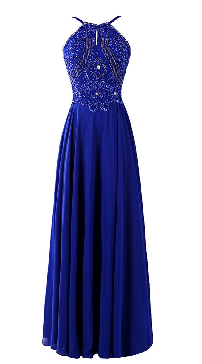 Royal Blue Prom Dress Halter Neckline, Bridesmaid Dresses,Homecoming Dress Long,
