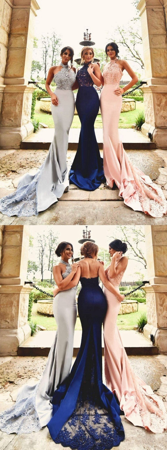 Mermaid Prom Dress High Halter Neckline, Bridesmaid Dresses,Homecoming Dress