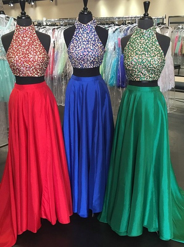 Two Pieces Prom Dress High Halter Neckline,Homecoming Dress Long, Back to School