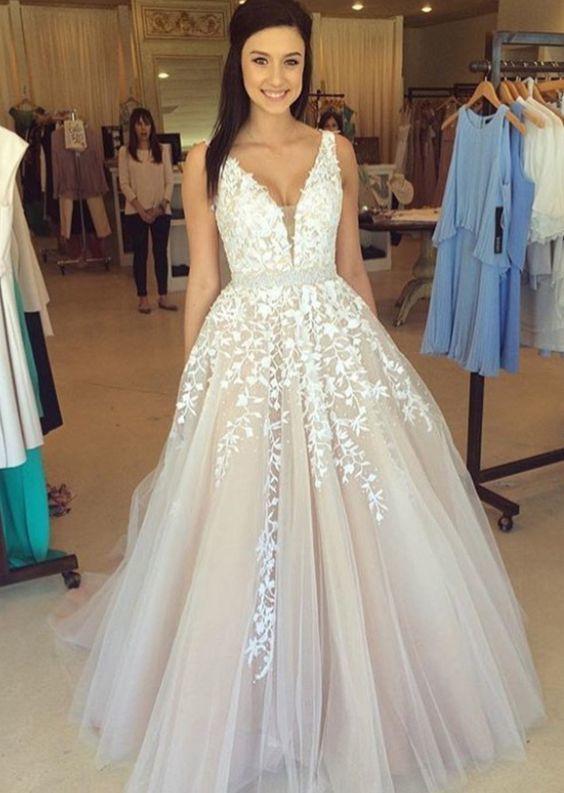A-line Prom Dress V Neckline,Wedding Dress,Long Homecoming Dress, Back to
