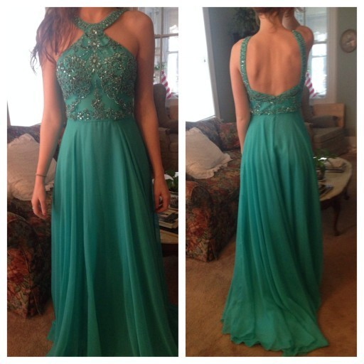 Green Prom Dress V Back ,Long Homecoming Dress, Back to Schoold Party Gown