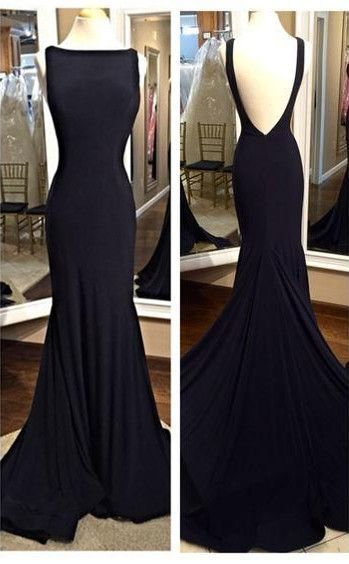 Sexy Black Prom Dress Deep V Back ,Long Homecoming Dress, Back to School Party
