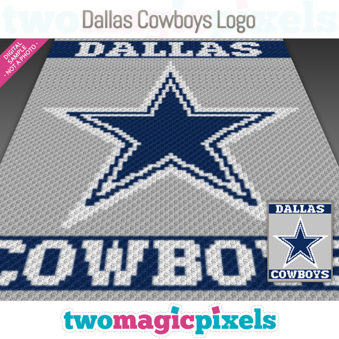 Dallas Cowboys Logo crochet graph (C2C, Mini C2C, SC, HDC, DC, TSS), cross